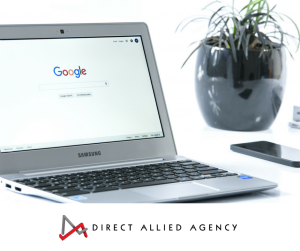 A laptop showing a search engine like Google ready to enter a search.